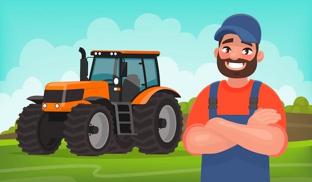 Granjero alegre en el fondo de un campo y un tractor. trabajo agricola. ilustración de vector en estilo de dibujos animados
