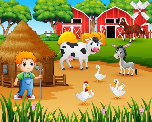 Granjero y animal de granja en el corral.
