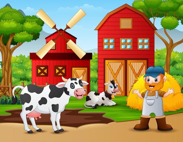 Granjero y animal de granja frente al granero.