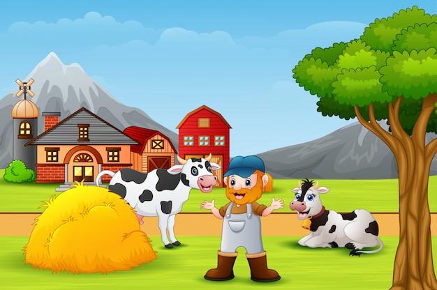 Granjero y animal de granja en el paisaje.