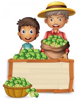 Granjero con brócoli en banner