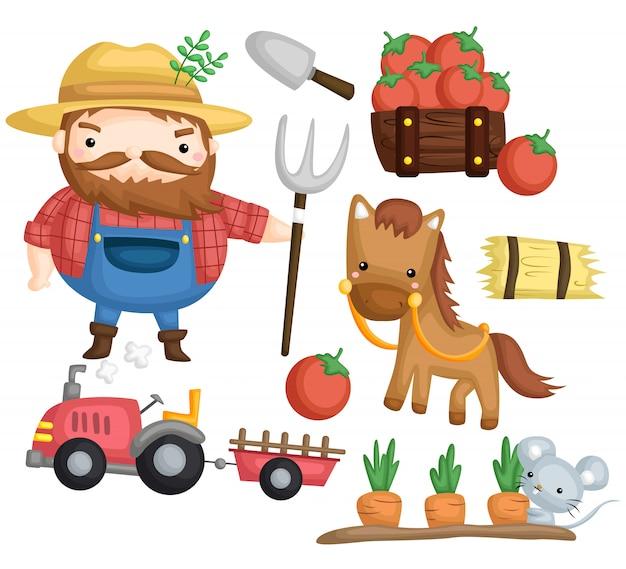 Granjero y caballo