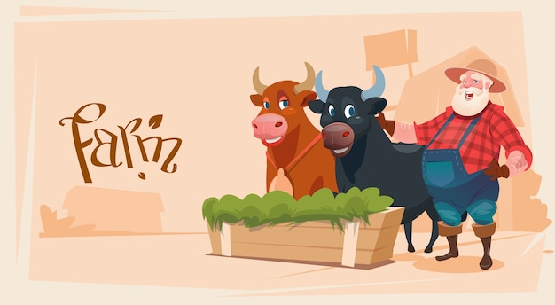 Granjero cría animales vaca tierras de cultivo fondo