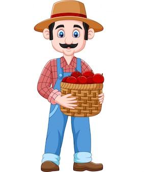 Granjero de dibujos animados sosteniendo una canasta de manzanas