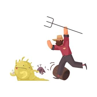 Granjero enojado con horca persiguiendo alienígena robando gallina y huevos de dibujos animados