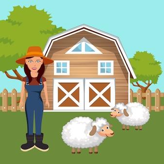 Granjero en la escena de la granja