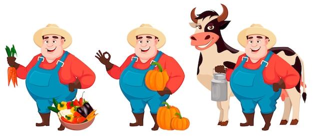 Granjero gordo, agrónomo, conjunto de tres poses