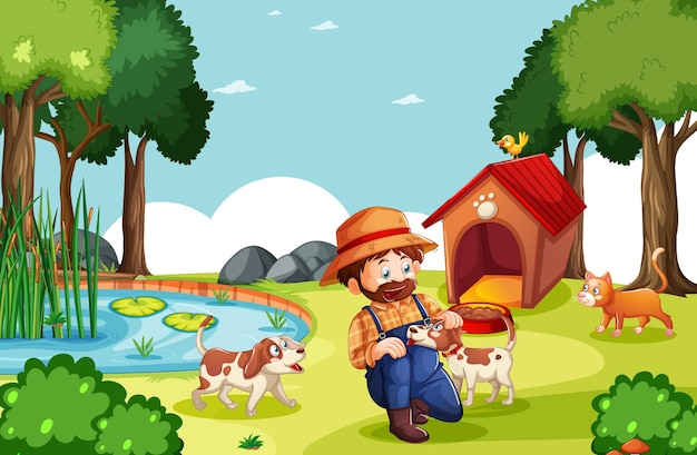 Granjero con granja de animales en escena de la granja en estilo de dibujos animados