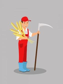 Granjero holding wheat ears vector illustration