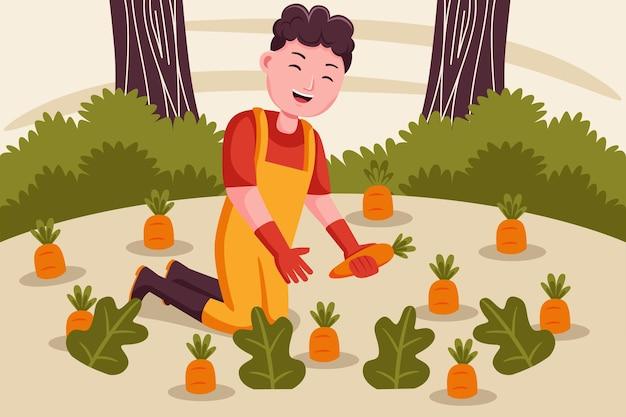 Granjero de hombre feliz cosecha zanahorias en el jardín.