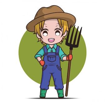 Granjero joven de la historieta linda que sostiene el rastrillo.