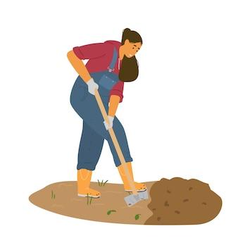 Granjero de la mujer en la excavación general con la ilustración de la pala.