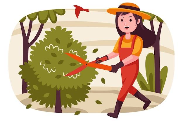 Granjero de mujer feliz cortando plantas en el jardín.
