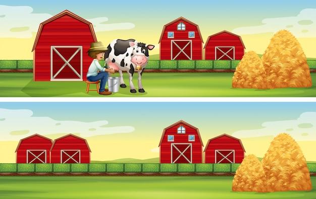 Granjero de ordeño de vaca en la granja