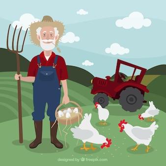 Granjero en un paisaje de granja con gallinas