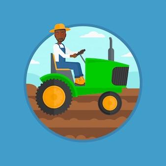 Granjero que conduce el ejemplo del vector del tractor.