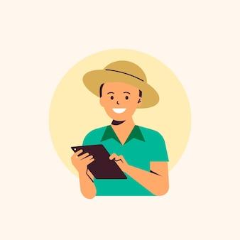Granjero que usa tecnología agrícola