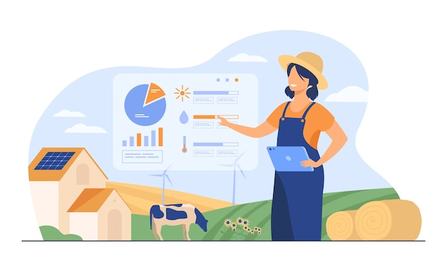 Granjero de sexo femenino feliz trabajando en la granja para alimentar a la población ilustración vectorial plana. granja de dibujos animados con tecnología de automatización.