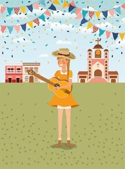 Granjero de sexo femenino que toca la guitarra con las guirnaldas y el paisaje urbano