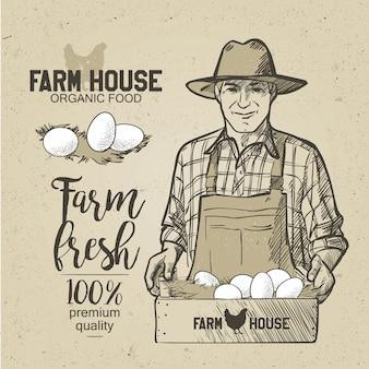 Granjero sosteniendo una caja de comida. huevos. ilustración del vector en estilo de la vendimia.