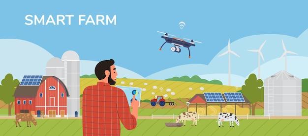 Granjero con tableta administrando granja con aplicación móvil