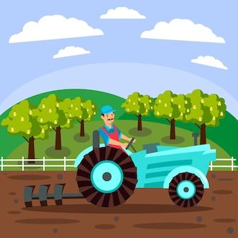 Granjero trabajando en el personaje de dibujos animados de campo
