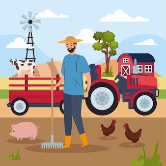 Granjero y tractor