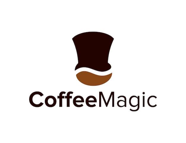 Grano de café con sombrero de mago para negocios, simple, elegante, creativo, geométrico, moderno, diseño de logotipo