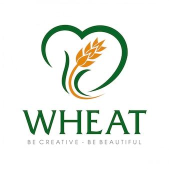 Grano de trigo y logotipo de arroz de trigo inspiración