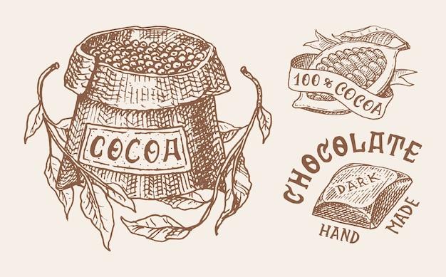 Granos de cacao y chocolate
