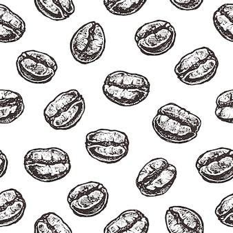 Granos de café en blanco, vintage de patrones sin fisuras