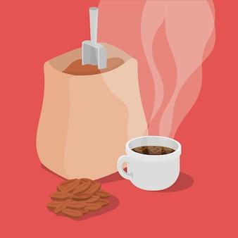 Granos de café bolsa taza bayas y hojas diseño de bebida cafeína desayuno y tema de bebidas.