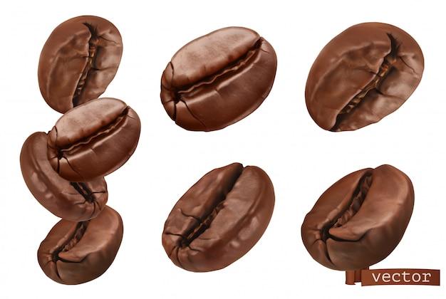Granos de café. conjunto de vectores realistas 3d