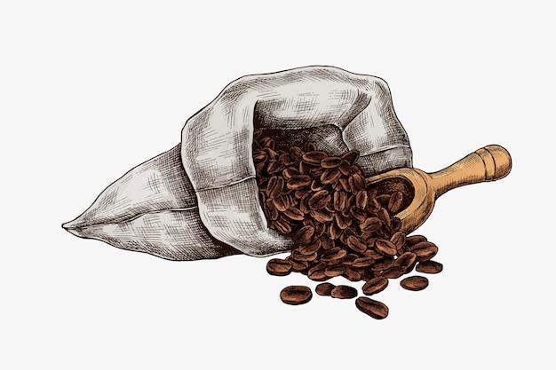 Granos de café dibujados a mano en una bolsa