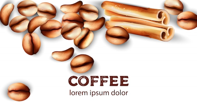 Granos de café y palitos de canela