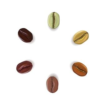 Granos de café realistas de diferentes colores colocados en círculo con lugar para texto, aislado sobre fondo blanco.