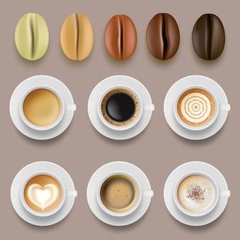 Granos de café y tazas. bebidas calientes café arábigo tostado colección de vectores agrícolas