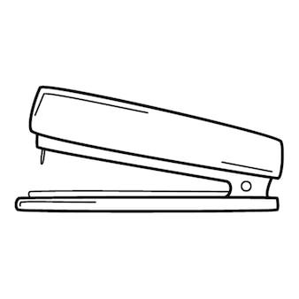 Una grapadora. artículo escolar, material de oficina. garabatear. ilustración de vector blanco y negro dibujado a mano. los elementos de diseño están aislados en un fondo blanco.