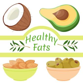 Grasas saludables coco aguacate almendras y aceitunas verduras y frutos secos con grasas buenas