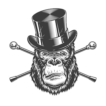Grave cabeza de gorila en sombrero de cilindro