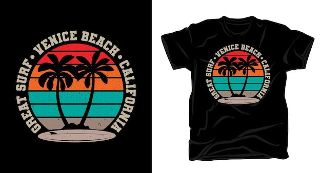 Great surf venice beach california tipografía con palmeras y camiseta vintage de tabla de surf