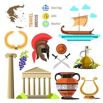 Grecia hitos diseño de iconos planos.