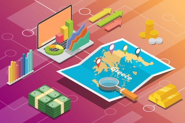 Grecia isométrica negocio economía crecimiento país
