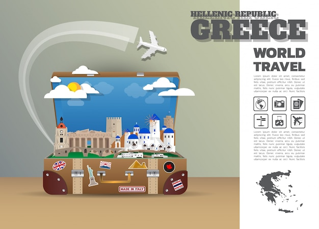 Grecia landmark global travel and journey infografía equipaje.3d diseño