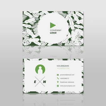 Green feather business card hipster