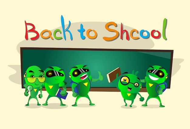 Green robot group over class board regreso a la escuela banner