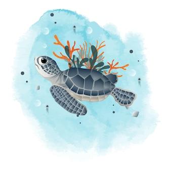 Green turtle en las maldivas, en lo profundo de una plantilla web oceánica.