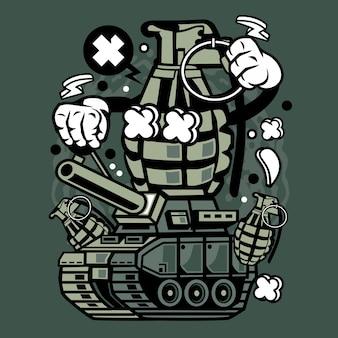 Grenade war tank cartoon