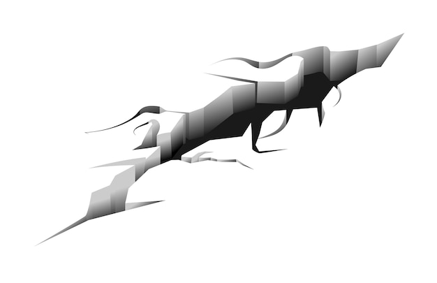 Grieta larga dividida en la superficie terrestre después del terremoto