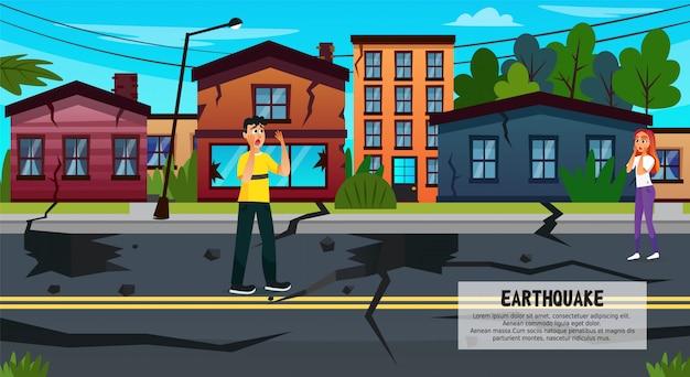 Grieta en la tierra después del terremoto, desastre natural